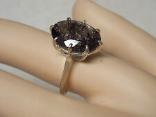 7.50ct NATURAL black rutile tourmalated quartz 925 sterling silver ring size 7