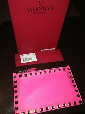 Valentino Rockstud Pink Purse Zip Pouch Boxed Used
