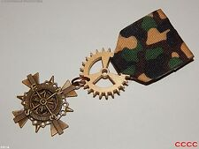 Steampunk Medal pin drape brooch badge compass pirate combat army military