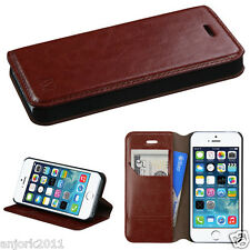 iPHONE 5 5S SE WALLET FOLIO CASE W/ CARD SLOT FOLDED STAND COVER BROWN