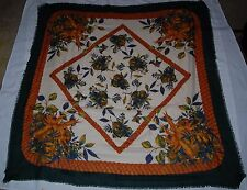 Vintage Betmar Large Scarf Forest Green Gold Blue Tan Floral Fruit  Italy 47'