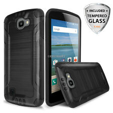 For LG Optimus Zone 3/K4/Spree/Rebel Shockproof Brushed Hybrid Armor Case+Screen