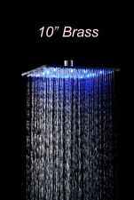 "LED Color Changing 10"" Brass Square Rain Shower Head Shower Replacement Faucet"