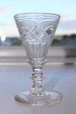 Late Georgian Gin Dram Glass with Cut Conical Bowl & Bladed Knop Stem 10 cm high