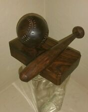 BASEBALL BAT Ironwood block Carved desk paperweight wood ball World Series Soft