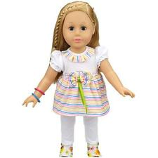 Cute Stripy Top & White Leggings Clothes for 18'' American Girl My Life Doll
