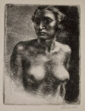 KARL STERRER Original Signed Etching NUDE WOMAN STUDY Austrian Vienna Secession