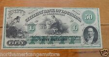 1800's Fifty Dollars($50) Lousiana Obsolete Banknote - The Bank of Louisiana UNC