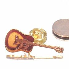 Vintage Miniature Music Guitar Pin - Gold Plated & Black - Music Gifts Jewelry