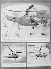 OLD VINTAGE PRINT HELICOPTER  AUTOGIRO US ARMY c1940's DIAGRAM CONTROLS