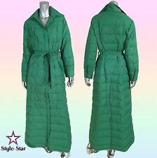 Vintage 70s Supermodel Long Maxi Puffer COAT Green Belted Collar M