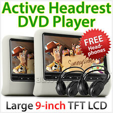 "2 x 9"" In Car LCD Monitor Active Headrest DVD Player Game Screen DivX USB SD TU"