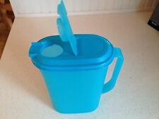 Tupperware 2qt Slim Line Oval Pitcher with Large Handle Flip Top Aqua Blue New
