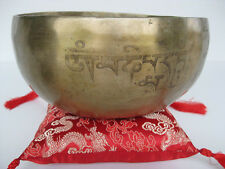 "Tibetan Singing Bowl ~ 8.5"" ED Long singer, OM Mani Padme Hum protection prayer"