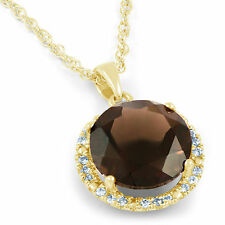 18ct Yellow Gold 0.11ct Diamond Smoky Quartz Gemstone Pendant Designer Jewelry