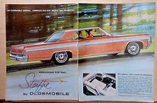 Two page 1962 magazine ad for Oldsmobile - 1963 Starfire, Pure Glamor, Adventure