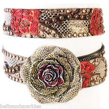 Kippys Kippy Swarovski Crystal Rose Vine Leather Belt 38 XXL New