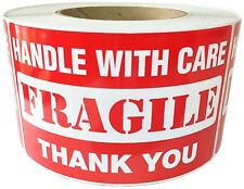 "Glossy Red ""Handle with Care FRAGILE Thank You"" Labels Stickers 3"" by 5""  500 ct"