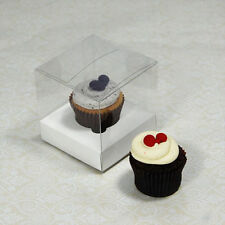 25 x 7.5cm Clear Mini Cupcake Boxes /Party Favour Boxes with white Insert