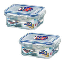 2 x Lock & Lock 180ml Rectangle Food Storage Containers Extra Small Box Plastic