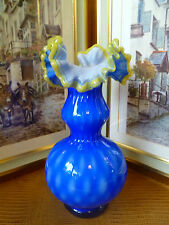 ANTIQUE VICTORIAN BOHEMIAN DOUBLE CRESTED ART GLASS VASE