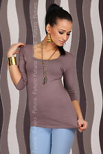 Classic Plain Stretchy Summer T-Shirt Blouse Scoop Neck Back Size 8-12 8028