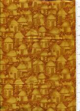 julia cairns ~ AFRICAN RONDAVEL THATCHED HUT ~ fabric VILLAGE RHYTHMS gold