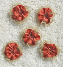 Fabric Flowers--- Hand Made--4 cm in Diameter---You get 5 flowers-