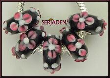 Black Raised Pink Flowers Single Core Beads Fits European 8 * 13 & 5mm Hole B130