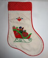 HOUSE OF HATTEN APPLIQUED VICTORIAN CHRISTMAS STOCKING SLEIGH