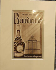 Vintage Advertisement mounted ready to frame Benedictine Liqueur 1950's