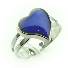 Color Changing Silver-Plated Heart-Shaped Mood Ring Adjustable Ring Band ZH