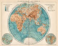 B6321 Mappamondo - Carta geografica antica del 1903 - Old map