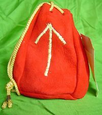 Red suede drawstring bag pouch floro UV yellow embroidered Norse rune Teiwaz S
