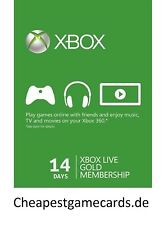 14 Days Microsoft Xbox One/360 Live Xbox 14 Days oro trial código via email