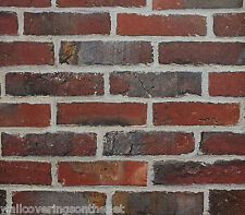 Realistic, Deep Red / Terracotta, Non Textured (Flat Paper) , Brick Wallpaper