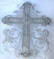 """CROSS""  RHINESTONE Iron On heat Transfer motif (8.75""w X  11.25""h)"