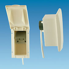 MAINS 230V 13A OUTLET SOCKET FLUSH CURVED, BEIGE RECTANGULAR CARAVAN MOTORHOME