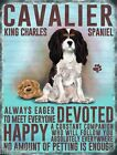 "CAVALIER KING CHARLES SPANIEL 12""X 8"" MEDIUM METAL SIGN WITH CHARACTER TRAITS"