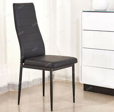 Slim Line Faux Leather Dining Chair Black Seat Pad High Back Kitchen Room Single