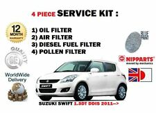FOR SUZUKI SWIFT 1.3DT DDIS D13A 2011-  OIL AIR FUEL POLLEN FILTER SERVICE KIT