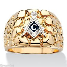 MASONIC MASON 14K GOLD NUGGET GP RING SIZE 8 9 10 11 12 13
