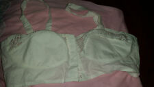LOVELY TRUE VINTAGE VEB RICO MIEDER WHITE COTTON/LACE FRONT FASTENING BRA 36B BN