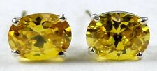 SE002, Yellow Cubic Zirconia, Sterling Silver Earrings
