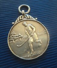 Early Sterling Silver Fob Medal h/m 1922 - Hockey / Shinty - not engraved