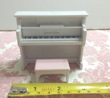 Dollhouse Miniature Furniture Plastic White Piano/ Chair Sylanian Families 3.5""
