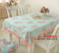 Shabby Chic Cottage Farmhouse Floral Table Cloth Blue Pink Ruffle Cotton Large