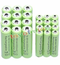 12x AA 3000mAh + 12x AAA 1800mAh 1.2V NI-MH Rechargeable Battery 2A 3A Green