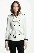 NWT Burberry White Belted Leather Trim 'Gabardine' Trench Coat US8 UK10 $1495