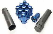 "20 Pc Set Spline Tuner Lug Nuts 1/2"" Blue Jeep Cherokee Wrangler TJ + 2 KEYS"